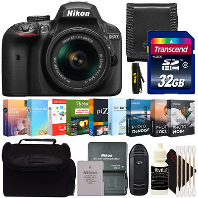 Nikon D3400 DSLR Camera with 18-55mm Lens and Photo Editing Video Software Kit