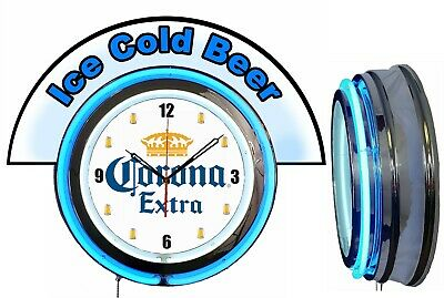 """Corona Extra Beer w/ Ice Cold Beer Marquee 19"""" Blue Neon Clock Mancave"""