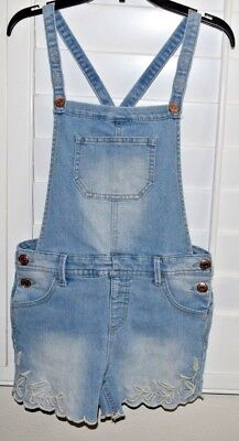 EUC! CUTE Girls CAT & JACK overall embroidered blue Jeans/ DENIM shorts L