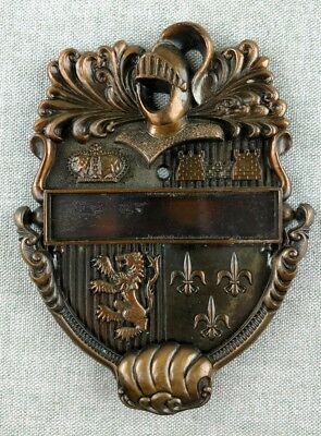 Vintage Cavalier Door Knocker with Knight Crown and Castle