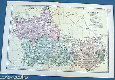 BERKSHIRE -  Original Large Antique County Map -  BACON , 1897.