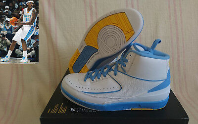 a885e6510b9a Nike Air Jordan 2 II Retro Melo PE White Blue DENVER NUGGETS 385475 122  Size 11