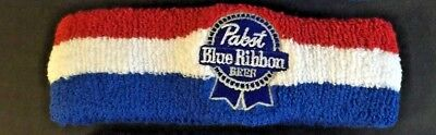 Pabst Blue Ribbon PBR Beer Sweatband Headband Embroidered ~ NEW & FREE Shipping