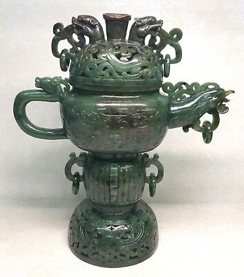 Chinese Spinach Jade Green Covered Censer Incence Burner Phoenix Dragon Handles