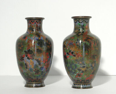 Vintage High Quality Cloisonne Matching Vase Pair