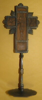 Middle Ages Sterling Silver and Cob Silver Medieval Wooden Crucifix (c)1400 A.D.