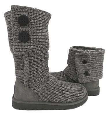 c1b8729196b NEW NIB UGG Classic Cardy Grey Gray Knit Girl's Youth Sweater Boots Women's  Also