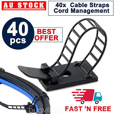40Pcs Cable Clips Adhesive Cable Management Cord Organizer Wire Holder Black
