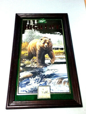 Miller high life beer mirror bar sign Brown Bear 1st of 4 in series #4 1997  JV1