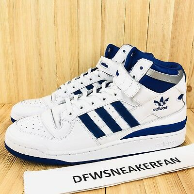 ADIDAS ORIGINALS FORUM Mid Refined Men's Size 13 White Royal Blue Silver F37830