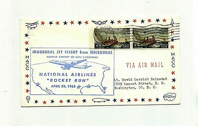 National Airlines Inaugural Flight Cover 1963 Rocket Run Vintage