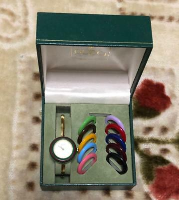 b0cc7dd4e03 GUCCI Change Bezel Ladies Watch Quartz Used with Box Pre Owned Acceptable