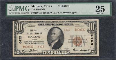 1929 $10 First National Bank of Mabank Texas TX Ch. 6422 - PMG Very Fine 25 C2C