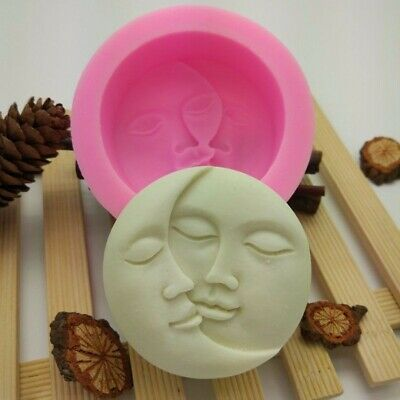 Sun & Moon Faces Silicone Soap Molds Craft Mold DIY Handmade Soap Mould Tool Kit