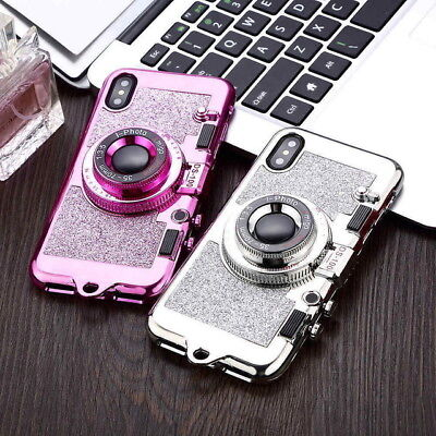 Luxury 3D Mirror Camera TPU Silicon Cover Case For Apple iPhone 7 8 X XR XS Max