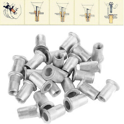 100Pcs Steel Aluminum Threaded Rivet Nut Inserts Rivnut Nutsert M4/M5/M6/M8 Set