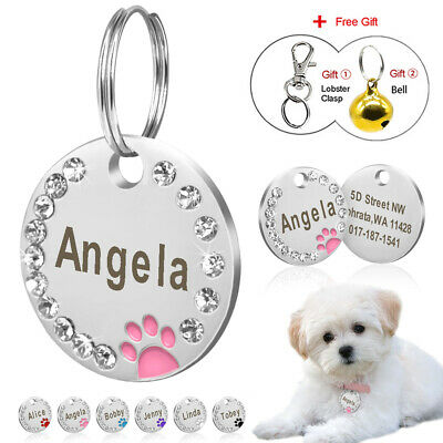 Bling Pet ID Dog Cat Tag Name Tags Engraved Stainless Steel Dog Tag Anti Loss