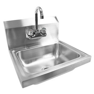 "17"" x 15"" x 14"" Wall Mount Kitchen Hand Wash Sink Stainless Steel with Faucet"