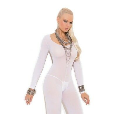 Bridal Lingerie White Opaque Long Sleeve Open Crotch Bodystocking Women Plus