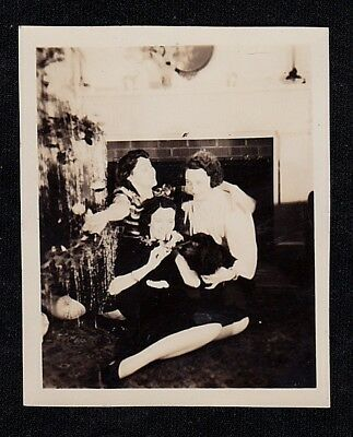 Vintage Antique Photograph Three Woman Sitting on Floor w/ Dog by Christmas Tree