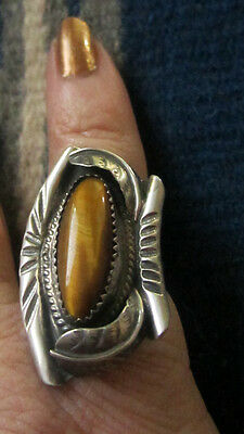 Navajo or Zuni Ring Tigers' Eye Sterling Silver Size 5-1/2 Pre-1960s THE BEST