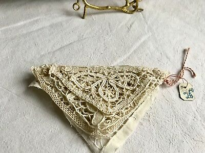 Antique Lace Appliqués 2pc Vintage Triangular Inserts Handmade French Laces NOS