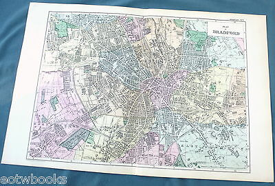 BRADFORD -  Original Large Antique City Plan / Map -  BACON , 1897.