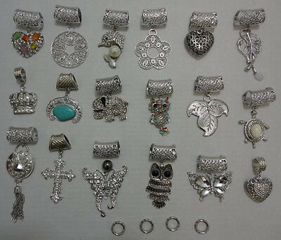 Wholesale Lot of (12) Scarf Charms Pendants Assorted Styles Silvertone 1 Dz. New