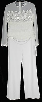 NWT Joseph Ribkoff Women's 8 White Lacey 3pc Formal After Wedding Pant Suit NICE