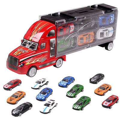 13pcs Transport Car Carrier Truck Diecast Car Toy for Kids Alloy Cars Toy Gifts