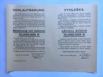 German AUTHENTIC HEYDRICH ASSASSINATION REWARD POSTER !!!RARE!!!