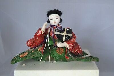 Vintage Asian Japanese Oriental Doll Figure Sitting Red Green #6