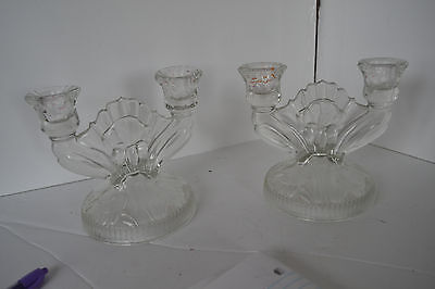 Vintage Double Flower Floral Glass  Candle Holder Pair