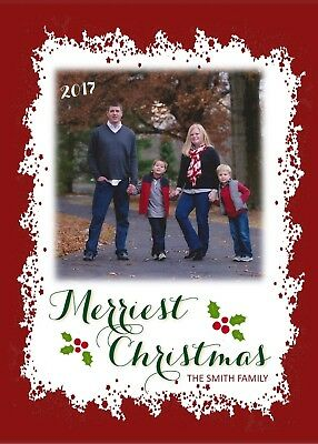 Red Frame Holiday Christmas Personalized Photo Card-Any # Photos