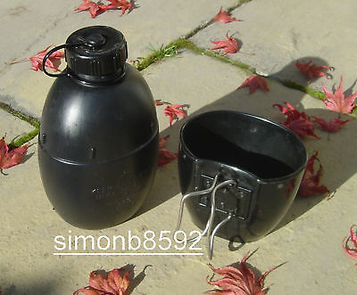 Uk British Army Surplus Issue 58 Pattern Water Bottle 1L,58Patt,Black,Screw Lid
