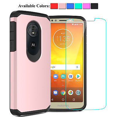 For Motorola Moto E5 2018 Shockproof Hybrid Case+Tempered Glass Screen Protector