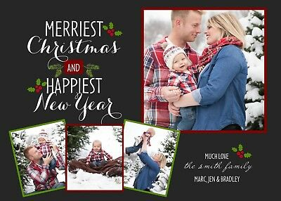 Merriest Holly Holiday Christmas Personalized Photo Card-Any # Photos