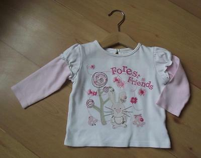 MATALAN Baby Girls Sleeved Top 6-9 Months Cotton Forest Design Pink White Top