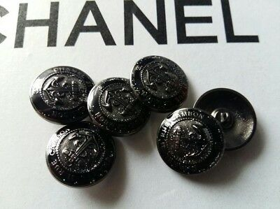Chanel 31 Rue Cambon buttons Lot of 6 metal Silver Black size 20 mm