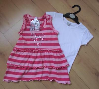 FUNKY DIVA Girls Top Set Age 2-3 Years Cotton Striped Tunic & White T-Shirt Set