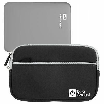 Black Water Resistant Zip Case For WD Elements 1TB & 2TB External Hard Drives