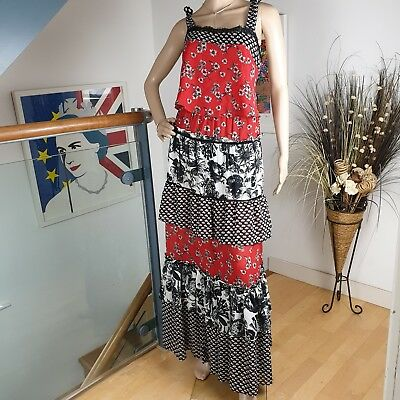 Next Tiered Gypsy Layered Frilled Maxi Dress Long Red Black Floral Size 12 40