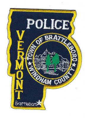 Brattleboro (Windham County) VT Vermont Police patch - NEW! *STATE SHAPED*