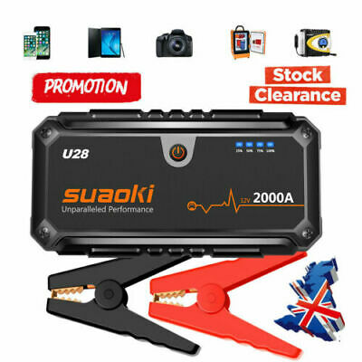 2000A Peak Jump Starter Pack Power Bank Smart Battery Clamps Booster Rescue