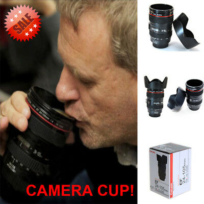 Camera Lens Cup Coffee Travel Mug Thermos Stainless Steel Leak-Proof Lid