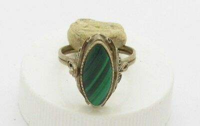 Post medieval Silver ring with Malachite gemstone
