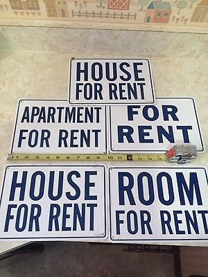 5  NOS Older FOR RENT Metal signs Raised pin stripe Man Cave