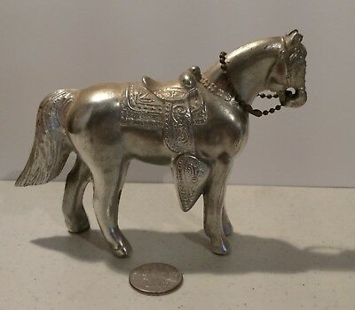 """Vintage Metal Bronze Silver Color Horse With Saddle 4"""" tall 6"""" long"""