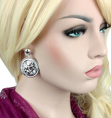 Silver Tone Lion Head Coin Dangle Earrings Ladies Fashion Jewelry