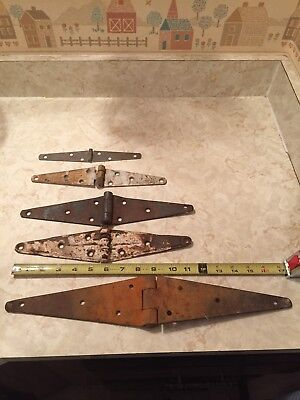 """5 Vintage Rustic Iron Strap Hinges Barn Door Fence Gate Hardware 17"""" and 12"""""""